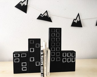 Chalkboard City Blocks Bookends, superhero bookends, wooden city blocks, monochrome bookends, children's bookends, superhero decor
