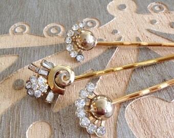 Authentic repurposed vintage gold rhinestone hair pins, set, something old, bobby pins, 1920s wedding, rustic, vintage jewelry, Art Deco