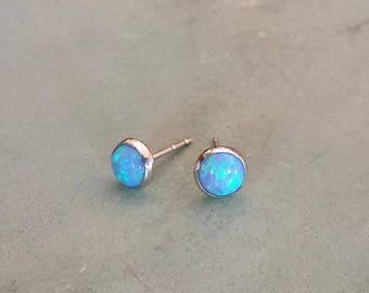 14k blue opal stud earrings,solid white gold  blue opal earrings,14k gold opal earrings,minimalist gold opal earrings