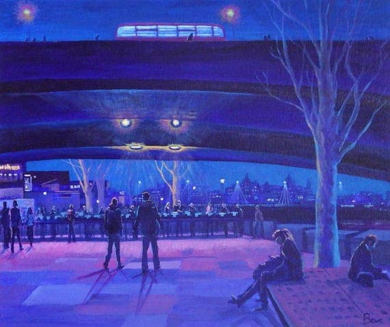 The Book Market at Night, original painting in acrylic of the London South Bank Book Market on a winters evening