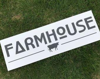 Farmhouse Sign | White & Black Farmhouse | Fixer Upper Style | Wood Sign
