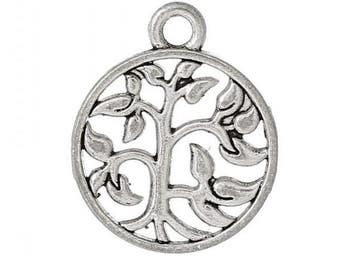 25 pcs Antique Silver Round Tree Charms