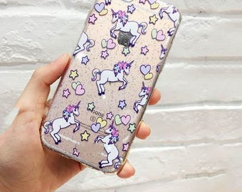 1 x Colourful Unicorn Hearts and Stars Soft TPU Phone Case for Iphone 6 6S