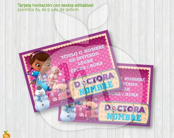 Printable and editable texts card with Doctora Juguetes DOC Mc Stuffins for your party! DOWNLOAD NOW!