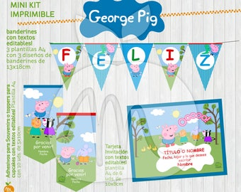 George Pig Printable Kit with Editable Texts! INSTANT DOWNLOAD!!