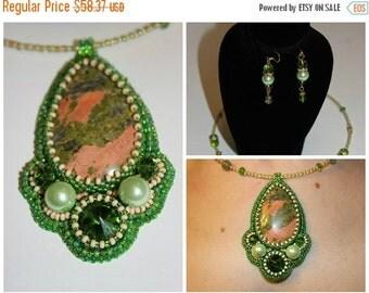 VALENTINE SALE 25% Fertility Jewelry Green Unakite gemstone seed bead embroidered Pendant Necklace Unique Anniversary gift Unakite Necklace