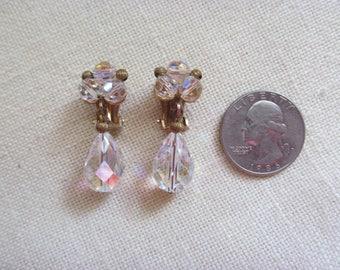Pair of Aurora Borealis Clip On Earrings