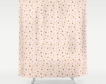 pink and gold shower curtain. Shower Curtain  Faux Gold Drops 71 by 74 Home Bathroom Peach shower curtain Etsy