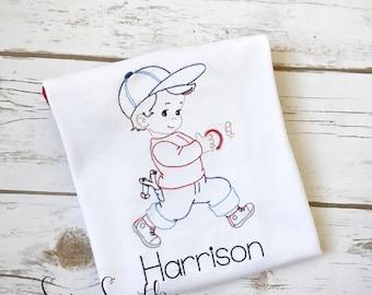 Sketched Baseball Boy - Vintage Stitched ~ Heirloom Stitched ~ Bean Stitched ~ Instant Download