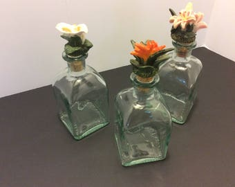 Vintage Trio Set of 3 Clear Glass Bottles, Decorative Ceramic Flowers Toppers, Shabby Chic Bottles, Vanity Decor, French Country Kitchen