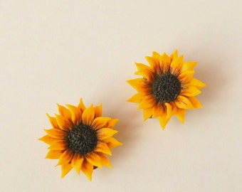 sunflowers Clips yellow flower earrings polymer clay jewelry gift for her wedding jewelry yellow jewelry bridesmaid jewelry Bridal jewelry