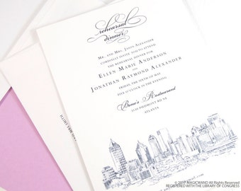 Atlanta Skyline Rehearsal Dinner Invitations (set of 25 cards)