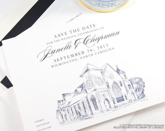 Brooklyn Arts Center Save the Dates, North Carolina Wedding Save the Date, Wilmington Wedding, Venue STD (set of 25 cards and envelopes)