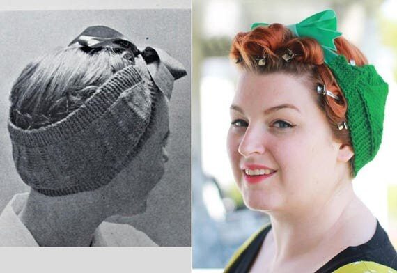 Retro Vintage Style Hats 1950s Style Knitted Pin Curl Scarf in Deco Green $20.00 AT vintagedancer.com