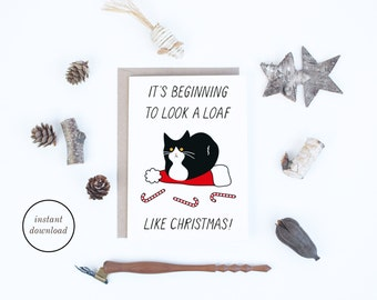 Christmas Cards Instant Download, Funny Cat Christmas Cards, Tuxedo Cat Printable Cards, Funny Christmas Cards to Print, Card for Cat Lovers