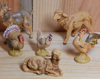 Vintage Fontanini Animal Figures from Italy, Set of 6 Animals by Roman Fontanini Includes Turkey Chicken Sheep and Goat, Miniature Animals