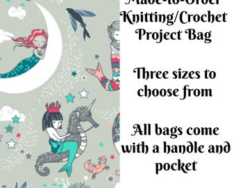 Knitting Project Bag, Mermaid Lullaby in Aqua, Sock Knitting, Zippered Bag, Crochet Bag, Sweater Project Bag, Large Bag