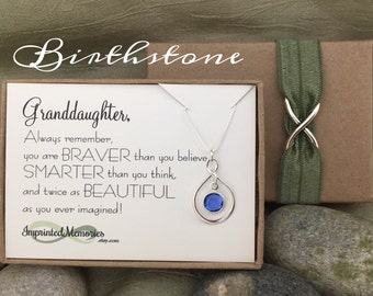 Birthday Gift for GRANDDAUGHTER - Gift for Her Sterling Silver Birthstone Necklace Graduation gift for Granddaughter Birthday Sweet 16 18th