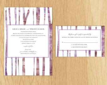 Watercolor Purple Birch Tree Printable Digital Wedding Invitations