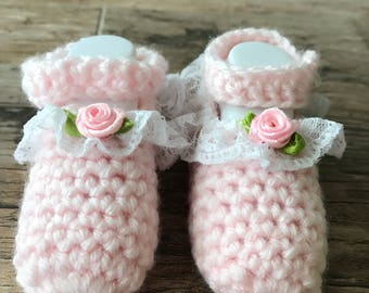 Elegant Baby's Crocheted Booties 0-6 MONTHS