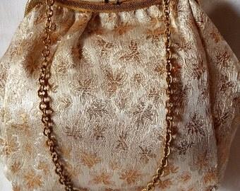 Vintage Gold Lurex Brocade Evening Purse, Wedding Purse, Germany 1960s