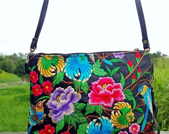 Boho Crossbody Bag - Embroidery Clutch Bag - Hmong Ethnic Bag   ( FREE SHIPPING WORLDWIDE )