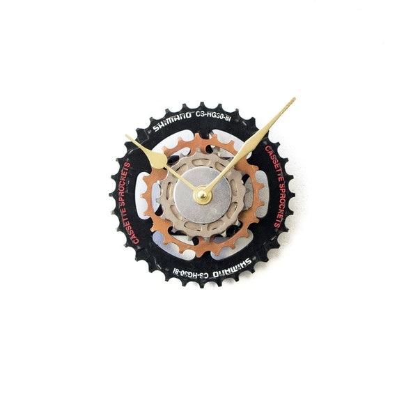 Black Wall Clock, Unique Wall Clock, Metal Clock Boyfriend Gift, Cyclist Gift, Dad Gift, Husband Gift, Small Black Clock, Small Wall Clock,