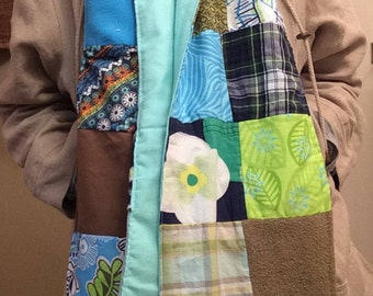 "Patchwork Scarf- ""A Walk in the Forest"" -Womens Scarf, Denim,  Corduroy, Fleece, Upcycle,Made in Maine, Warm, Winter Accessories, Flicka"