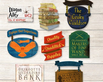 Harry Potter signs printable, PDF FILES - Diagon Alley Shops signs for bedroom decor, home decor or Harry Potter Party decor