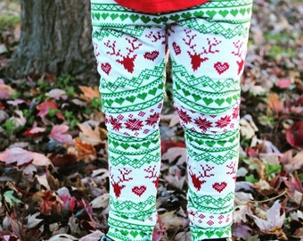Baby Toddler Christmas Leggings, Reinder pants, Red and green, girl holiday outfit, snowflake, rudolph
