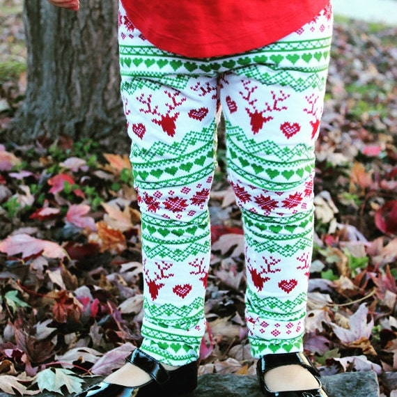 Baby Toddler Christmas Leggings Reinder Pants Red And Green