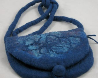 Hand felted merino wool and silk bag, purse, handbag, boho chic, textile art to wear, unique design, denim blue