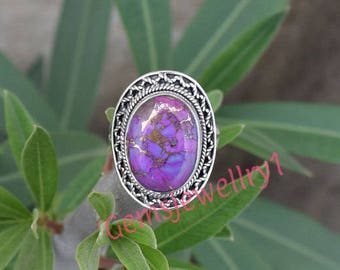 Purple Copper Turquoise ring,  Stone ring, silver ring, 925 sterling silver, Bohemian Ring, Boho, Native Ring, Turquoise Jewellry,