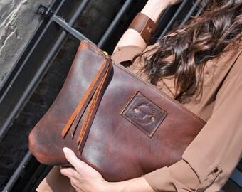 Oversized Chestnut Leather Clutch