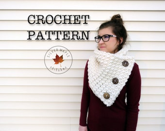 CROCHET PATTERN, Button Scarf Pattern, Cowl Pattern, Scarf Pattern, Button Cowl, Winter Scarf Pattern, Crochet Cowl Pattern, Crochet Scarf