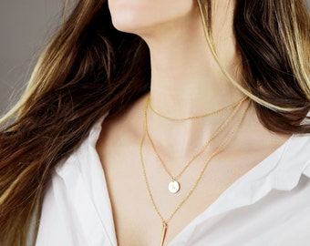 Name initial Necklace Delicate Simple Layering Necklace Layering Jewelry Set