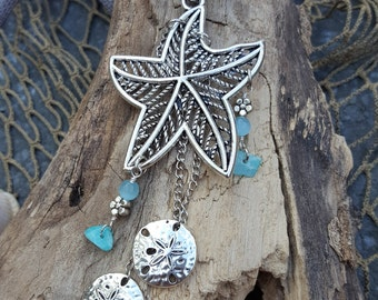 Starfish Rearview Mirror Accessory - Sand Dollar- Car Jewelry - Car Accessory - Coastal Decor - Coastal Gifts - Beach - Mermaids - Nautical