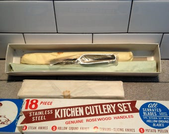 Vintage Knives 1970s New in Box 18 piece Stainless Steel Kitchen Cutlery Set Walgreens Japan