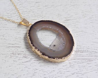 Mom Gift, Geode Necklace, Brown Geode Necklace, Geode Slice Necklace, Druzy Pendant, Gold Necklace, Boho Necklace Long, Layer Necklace 6-115