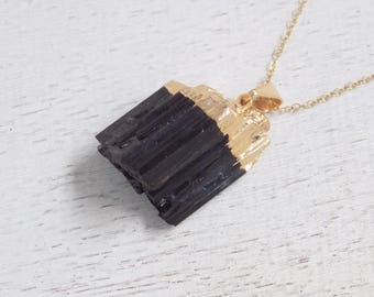 Gift For Mom, Tourmaline Necklace, Black Tourmaline Necklace, Raw Tourmaline Necklace Tourmaline Pendant Gold Tourmaline Layer Necklace 9-11