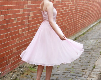 Vintage 1970s Candy Pink Ballerina Dress / Chiffon Dress / Full Skirt / Romantic Ballerina Dress / S