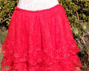 beautiful vintage red tiered frill lace skirt, size uk 14-18,usa 12-16. gothic, fairy, cosplay