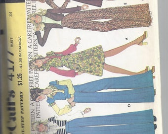 McCalls Pattern # 4177 from  1974  Misses Unlined Jacket, Skirt and Pants  Bust 34, UNCUT
