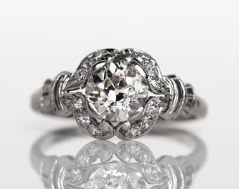 Circa 1910 Edwardian Platinum GIA Certified 1.02ct Old European Brilliant Cut Diamond Engagement Ring - VEG#764