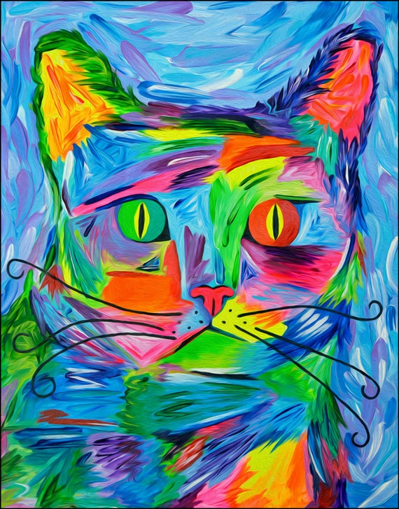 "Abstract Cat Art Print - Colorful Cat Print, Rainbow Cats, Cat Wall Art, Modern Cat Portrait ""Karma the Grump"". A Purr-fect Cat Lover Gift!"