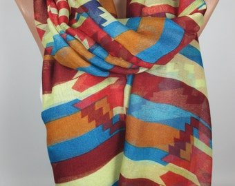 Tribal scarf Aztec scarf Oversize scarf Bohemian Scarf Fall Winter scarf Women Fashion Accessories Christmas Gifts Gift ideas for her