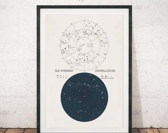 Constellation poster, Star chart, Ursa minor, Ursa major, Antique art print, Antique wall art, Vintage poster, Wall art, Antique poster