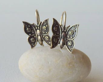 Sterling Silver Butterfly Earrings Vintage Small Oxidized Butterfly  Mexico Pierced Earrings Delicate Girls Jewelry Retro Jewelry 925 Silver
