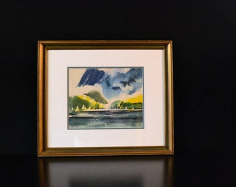 Mid Century Modern Original Watercolor of Sailboats Signed Cascio