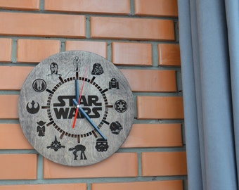 Star Wars Gift Wall Clock Wood Darth Vader Custom Engraved Housewarming Home decor Hanging Round Gift for Boyfriend Brother Husband